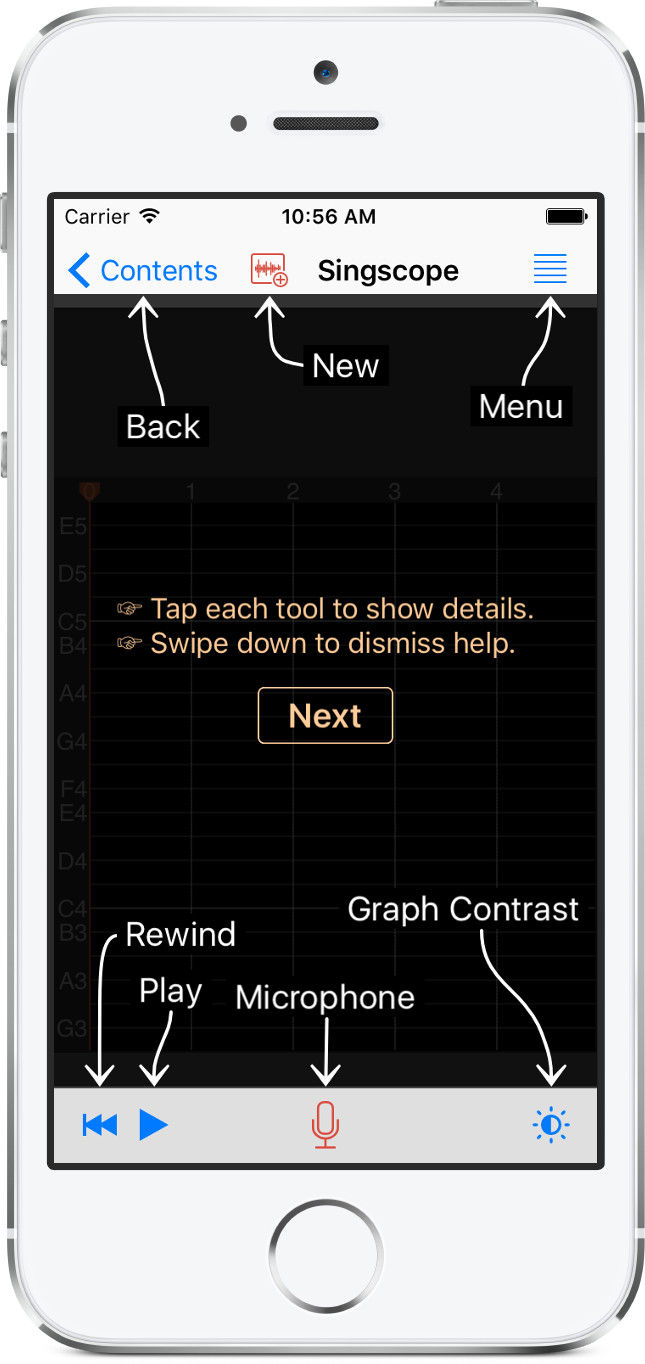 Singscope app help screen