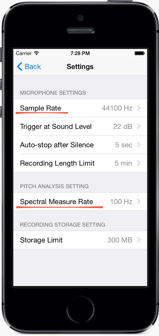 Singscope app settings screen